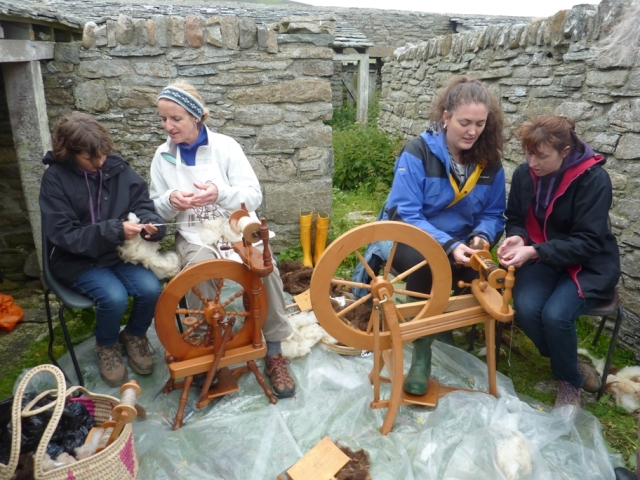 Noss Open Day 2013 - spinning in a paddock.