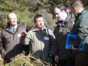 Minister Paul Wheelhouse viewing the project at first hand  l-r Andrew Norval, Seafield Estate, Roger Knight, Spey Fishery Board, Paul Wheelhouse, Minister, Duncan Ferguson, Spey Fishery Board