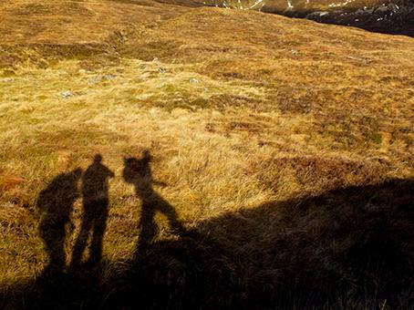 Nevis walkers' shadow