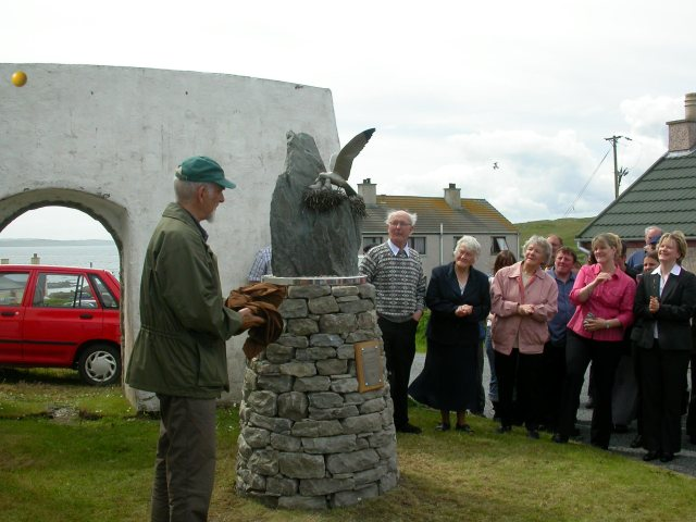 Dennis Coutts on the left speaking at the unveiling of the memorial to Bobby Tulloch. Second from the left is Mary Ellen Odie (in navy blue) and to the right of her, is Bobby's other sister, Laureen Smith. (photo courtesy Wendy Dickson)