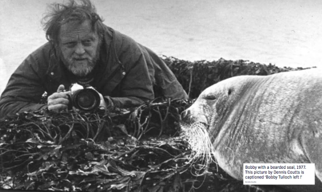 Dennis Coutts took the above picture of his good friend and captioned it 'Bobby, left, with a bearded seal'