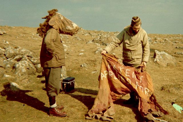 The famous panto-horse hide. Taken in 1967 it shows Bobby Tulloch with the horses head on and noted Shetland photographer Dennis Coutts on the right.