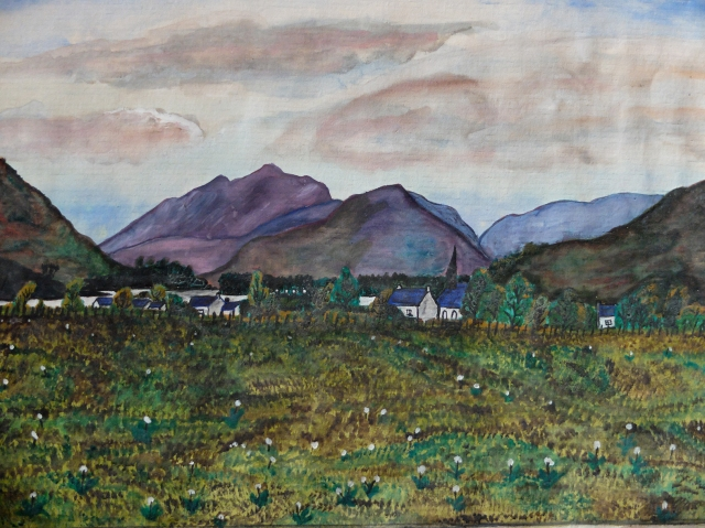 Davie Glen watercolours showing Glencoe Village and a landscape