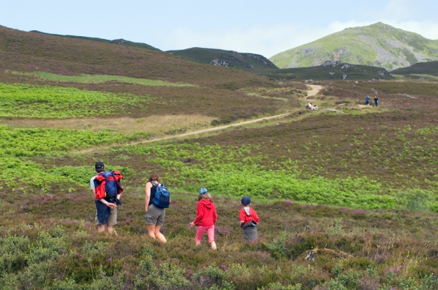 Family hillwalking on an upland footpath