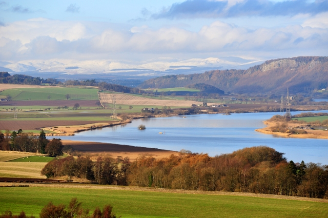 The River Tay and Kinnoull Hill from the slopes above Newburgh.