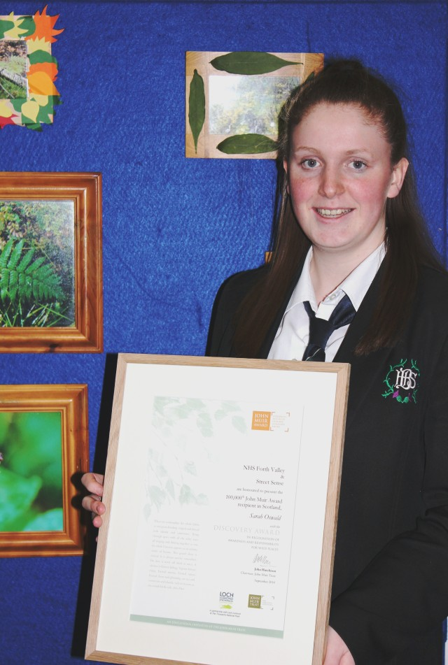Sarah with her cetificate