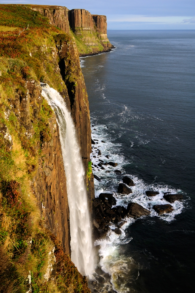 The waterfall at the Kilt Rock near Staffin, Isle of Skye