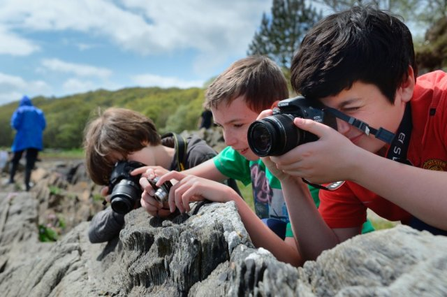 Lochgilphead High School 3rd year pupils on a Snapberry photography workshop at Taynish National Nature Reserve, May 2015.