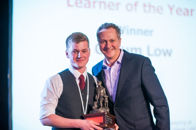Game and Wildlife Winner Callum Low on stage with Nick Nairn