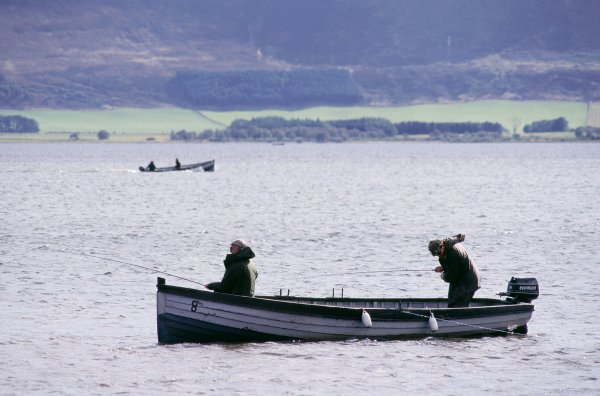 Fly fishing for trout from a boat on Loch Leven NNR ©Lorne Gill/SNH