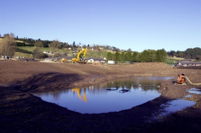 A SuDS pond under construction in Inverness, (C) Lorne Gill