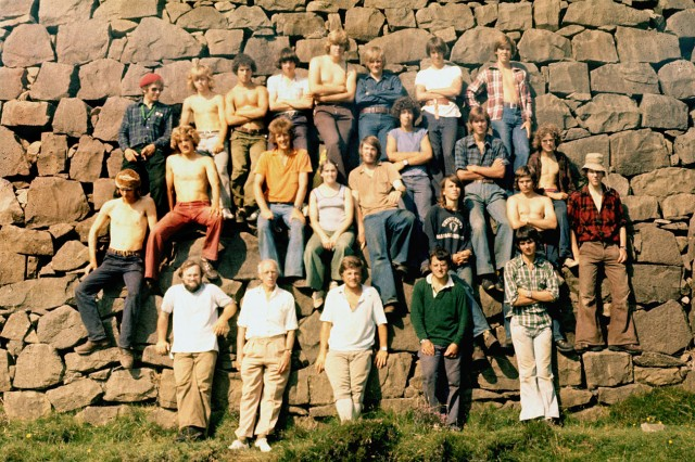 The Rum expedition party of 1976, with Launcelot Fleming second left at bottom of Salisbury's Dam. Photo; Nick Smith.