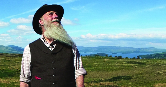 Lee Stetson as John Muir, on the John Muir Way. Photo of Lee courtesy: Lee Terkelsen. Landscape courtesy: Mitchell Hamilton