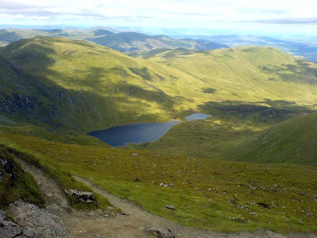 Lochan Nan Cat from the summit of Ben Lawers. © Scottholland at English Wikipedia