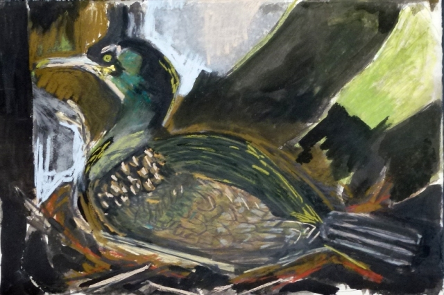 Nesting shag, mixed media drawing. Kittie Jones