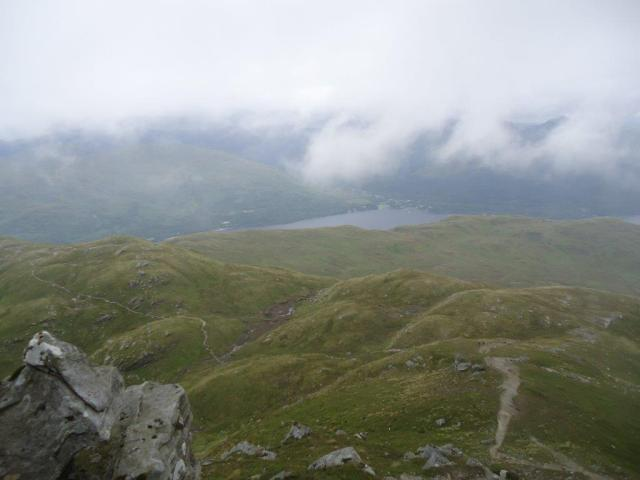The view half way up Ben Lomond, the wettest and windiest day I've experienced on the hills. Photo, Elspeth Christie