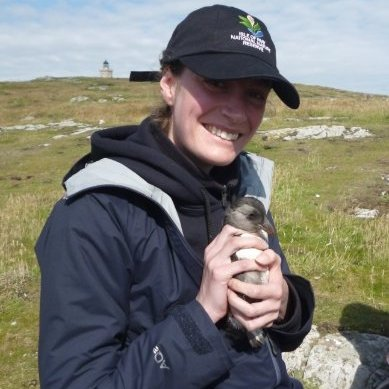 With a puffling on the Isle of May. Photo, Elspeth Christie