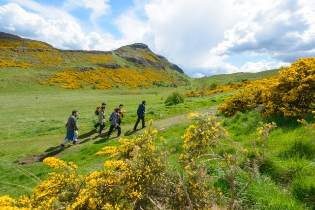 Holyrood HS Ranger Lily Laing taking a guided tour around Holyrood Park about the wildlife, geology and archaeology. ©Historic Environment Scotland
