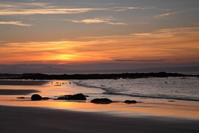 Yellowcraig beach at sunset.