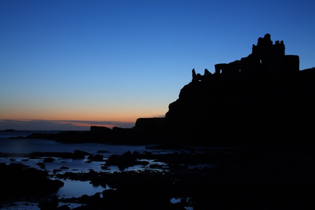 Tantallon castle at dawn.