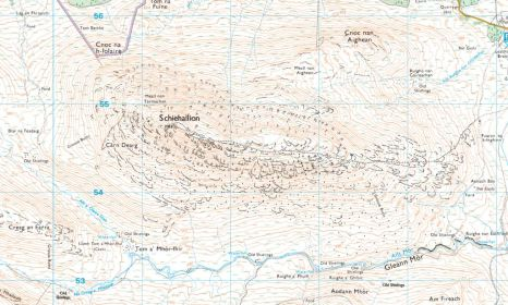 Detail of the OS Explorer map including the Schiehallion area. © Ordnance Survey