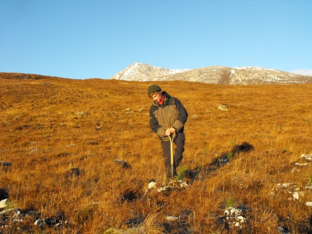 Beinn Eighe NNR volunteer planting pine trees.