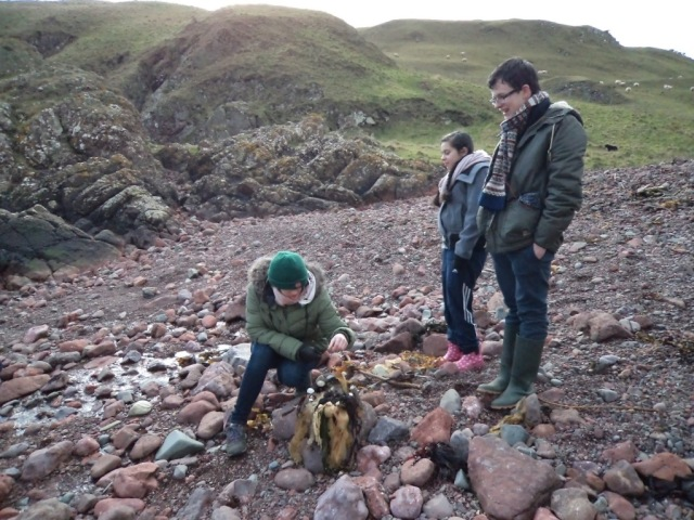 Putting the finishing touches on an environmental art activity they tested out at St Abb's Head NNR.