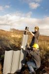 Volunteers installing dams at Commonhead Moss LNR.