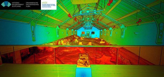A perspective point cloud view through the building across the fossilised tree stump area. The colours represent intensity of the reflected laser beam.