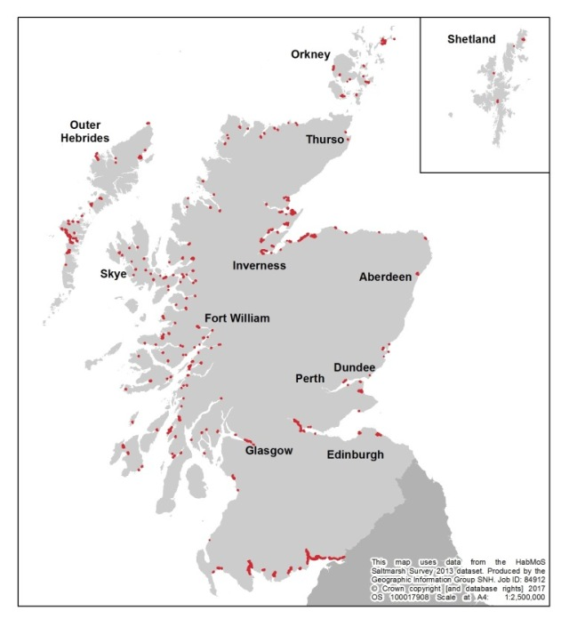 Habitat Map of Scotland – Saltmarshes.