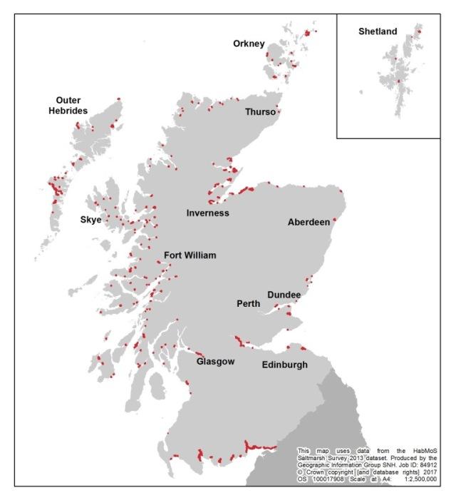 Habitat Map of Scotland – Saltmarshes.