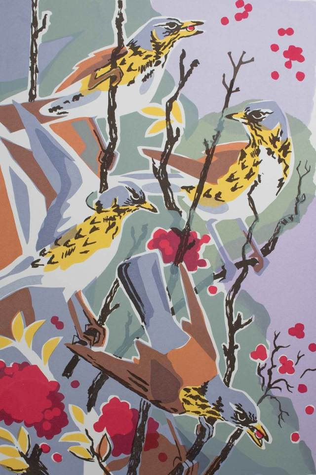 Autumn visitors - fieldfares, hand-made screen print.