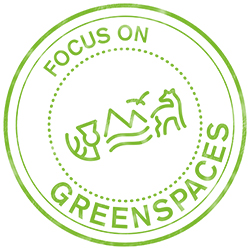 Focus on Greenspaces stamp.