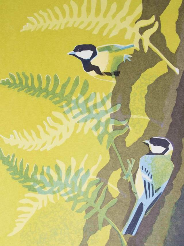 Great tits and polypody ferns, hand-made screen print.