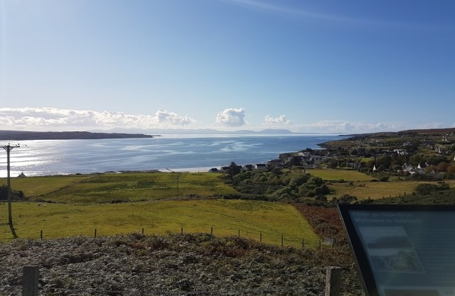 Looking out over Gairloch – the day cleared up so beautifully that we can see Skye in the distance.