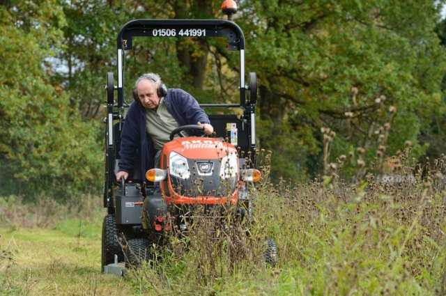 Jim on his Kioti mowing the Battleby wildflower meadow. ©Lorne Gill/SNH