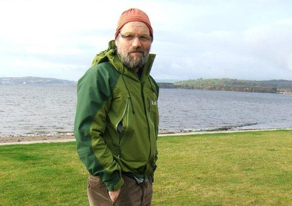 Ron at the start of the John Muir Way.