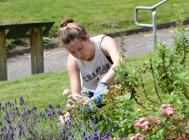 Katie working in the Gartnavel garden.