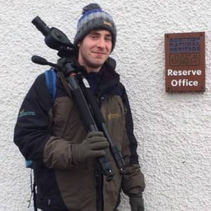 Simon Ritchie at the St Cyrus NNR reserve office, ready for a day's work on the reserve. (winter 2015/16). © Simon Ritchie/SNH