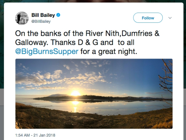 Bill Bailey tweet - Sunrise near Glencaple.