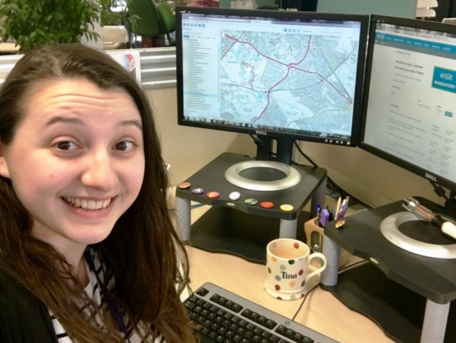 Tina, a Geographic Systems and Data Co-ordinator with SNH, working with mapping software at her desk at the Inverness office. © Tina Ross/SNH