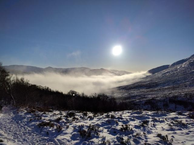 Ascending through the mist bank provides spectacular views toward Loch Laggan © Steven Sinclair/SNH