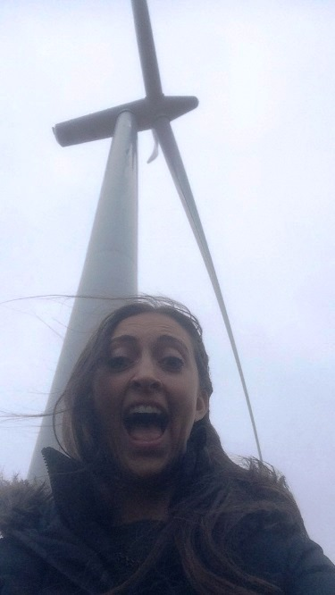 A windy visit to an onshore windfarm. © Kerrie Craig/SNH