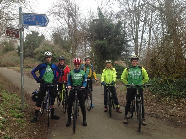 With the Edinburgh team, heading off to Blawthorn Moss