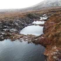 Grip blocking with peat dams at Lochrosque Estate to slow the flow of water and reduce peaty sediment runoff. © John Stoddart – Scottish Water – Sustainable Land Management Team