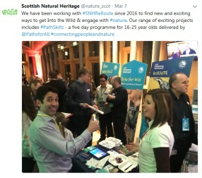 Updates from the evening were provided on the SNH and Young Scot social media channels during and after the event for those who weren't able to attend. © SNH