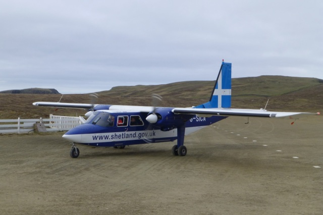 AirTask's BN Islander on Fair Isle airstrip (Photo David Parnaby)