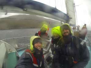 HWDT crew on board Silurian still smiling in the rain. September 2017