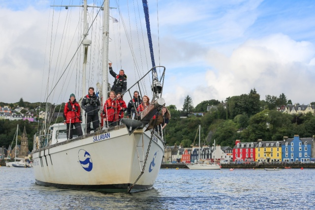 The HWDT team on board Silurian in Tobermory Bay, August 2017
