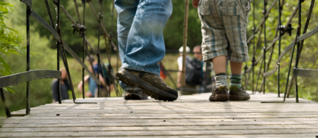 Cateran Trail - Feet crossing bridge © Zoe PKCT